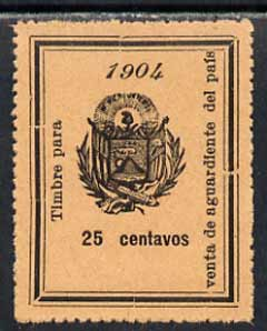 El Salvador 1904 Alcohol Duty 25c perforated revenue stamp on ungummed paper