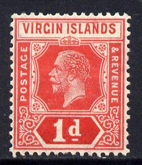 British Virgin Islands 1921 KG5 Script CA 1d red die II mounted mint SG 81