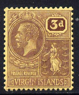 British Virgin Islands 1922-28 KG5 MCA 3d purple on yellow mounted mint SG 82