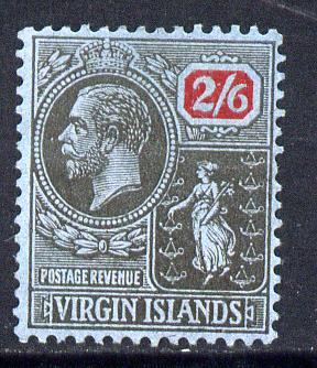 British Virgin Islands 1922-28 KG5 MCA 2s6d black & red on blue mounted mint SG 84