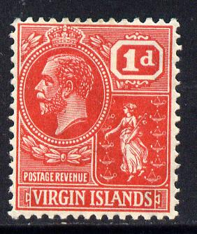 British Virgin Islands 1922-28 KG5 Script CA 1d rose-carmine mounted mint SG 87