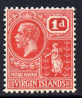 British Virgin Islands 1922-28 KG5 Script CA 1d rose-carmine unmounted mint SG 87