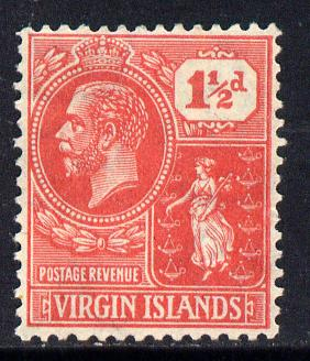 British Virgin Islands 1922-28 KG5 Script CA 1.5d carmine-red mounted mint SG 90