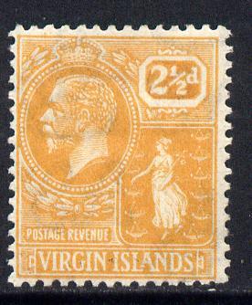 British Virgin Islands 1922-28 KG5 Script CA 2.5d dull orange mounted mint SG 94