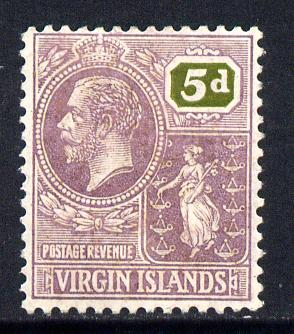British Virgin Islands 1922-28 KG5 Script CA 5d purple & olive mounted mint SG 97