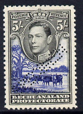 Bechuanaland 1938-52 KG6 5s black & deep ultramarine with straight-line SPECIMEN perfin fine with gum with less than 400 produced SG 127s