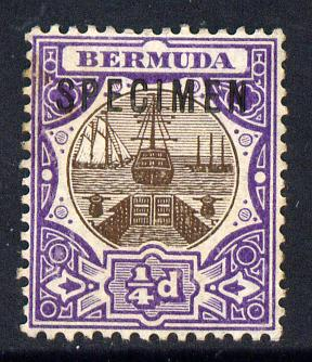 Bermuda 1906-10 Dry Dock 1/4d brown & violet overprinted SPECIMEN fine with gum with only about 730 produced SG 34s