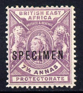 Kenya, Uganda & Tanganyika - British East Africa 1896-1901 QV 7.5a mauve overprinted SPECIMEN small part gum with only about 730 produced SG 73s