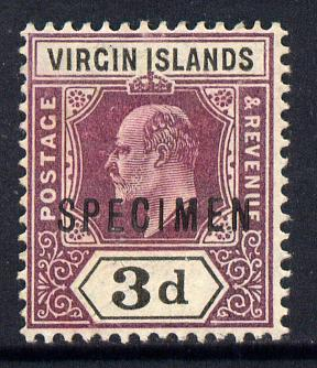 British Virgin Islands 1904 KE7 3d purple & black overprinted SPECIMEN without gum with only about 730 produced SG 58s