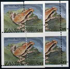 Zambia 1989 Red Toad 50n vert pair with superb misplaced perforations, unmounted mint SG 567 (blocks pro rata)