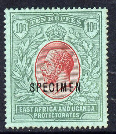 Kenya, Uganda & Tanganyika 1912-21 KG5 MCA 10r overprinted SPECIMEN fine with gum only about 400 produced SG 58s