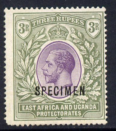 Kenya, Uganda & Tanganyika 1912-21 KG5 MCA 3r overprinted SPECIMEN fine with gum but rounded corner perf only about 400 produced SG 55s