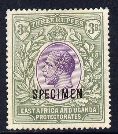 Kenya, Uganda & Tanganyika 1921-22 KG5 Script CA 3r overprinted SPECIMEN fine with gum only about 400 produced SG 73s