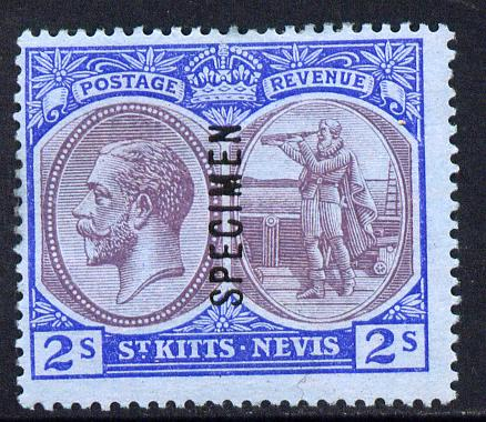 St Kitts-Nevis 1920-22 KG5 MCA Columbus 2s overprinted SPECIMEN fine with gum only about 400 produced SG 32s