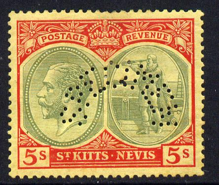 St Kitts-Nevis 1921-29 KG5 Script CA Columbus 5s green & red on yellow with SPECIMEN perfin fine with gum only about 400 produced SG 47bs