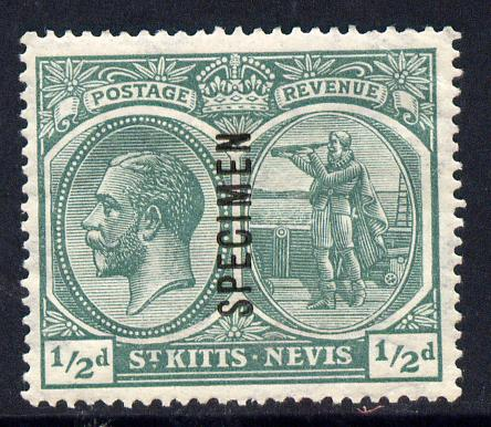 St Kitts-Nevis 1921-29 KG5 Script CA Columbus 1/2d blue-green overprinted SPECIMEN fine with gum only about 400 produced SG 37s