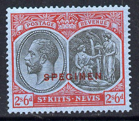 St Kitts-Nevis 1921-29 KG5 Script CA Medicine Spring 2s6d black & red on blue overprinted SPECIMEN fine with gum only about 400 produced SG 47as