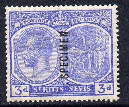 St Kitts-Nevis 1921-29 KG5 Script CA Medicine Spring 3d dull ultramarine overprinted SPECIMEN fine with gum only about 400 produced SG 45s
