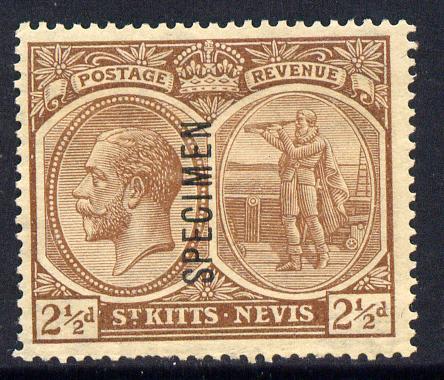 St Kitts-Nevis 1921-29 KG5 Script CA Medicine Spring 2.5d brown overprinted SPECIMEN fine with gum only about 400 produced SG 43s