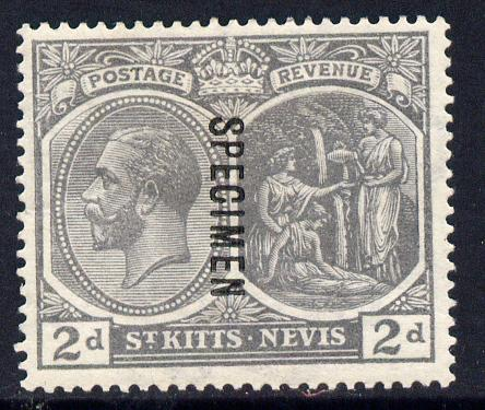 St Kitts-Nevis 1921-29 KG5 Script CA Medicine Spring 2d xslate-grey overprinted SPECIMEN fine with gum only about 400 produced SG 41s