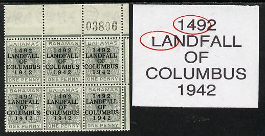 Bahamas 1942 KG6 Landfall of Columbus 1d pale slate NE corner block of 6 from left pane with sheet number showing Damaged top of L on R1/4 and Dot in 4 on R1/6 unmounted ...