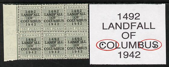 Bahamas 1942 KG6 Landfall of Columbus 1d pale slate marginal block of 6 from left pane showing Split P on R7/1 (plate variety), Flaw in C on R7/3 & Flaw in S on R8/2 unmo...
