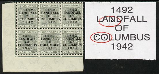 Bahamas 1942 KG6 Landfall of Columbus 1d pale slate SW corner block of 6 from left pane showing Flaw in N on R10/1 and Flaws in C & O on R10/2 unmounted mint