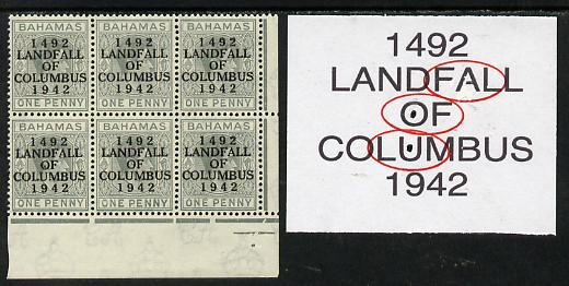 Bahamas 1942 KG6 Landfall of Columbus 1d pale slate SE corner block of 6 from left pane showing Flaw in first U on R9/4, flaw in OF on R10/4 & Damaged A on R10/5 unmounted mint