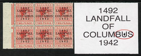 Bahamas 1942 KG6 Landfall of Columbus 2d scarlet marginal block of 6 from left pane showing Flaw in second U on R3/2 unmounted mint