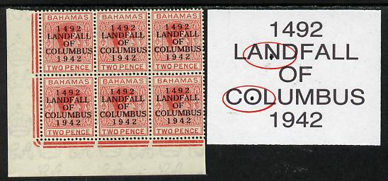 Bahamas 1942 KG6 Landfall of Columbus 2d scarlet SW corner block of 6 from left pane showing Flaw in N on R10/1 and Flaw in O on R10/2 unmounted mint