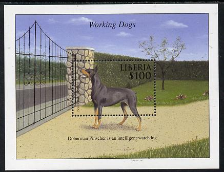 Liberia 1999 Working Dogs - Doberman Pinscher perf m/sheet unmounted mint