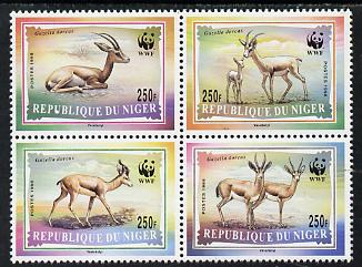 Niger Republic 1998 WWF - Gazelles perf se-tenant block of 4 values unmounted mint (Sheetlet containing 4 sets available price pro rata)