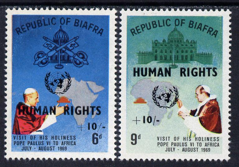 Nigeria - Biafra 1969 Human Rights opt on Visit of Pope set of 2 unmounted mint (see note after SG 42)