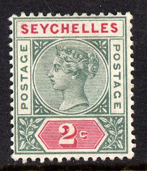 Seychelles 1890-92 QV Key Plate Crown CA die I - 2c green & carmine mounted mint SG 1