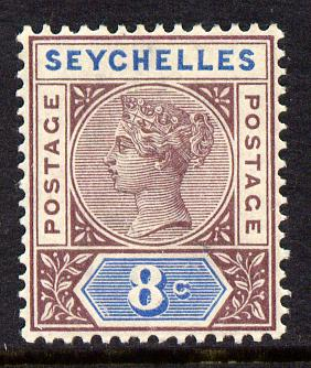 Seychelles 1890-92 QV Key Plate Crown CA die I - 8c brown-purple & blue mounted mint SG 3
