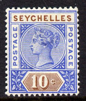 Seychelles 1890-92 QV Key Plate Crown CA die I - 10c ultramarine & brown mounted mint SG 4