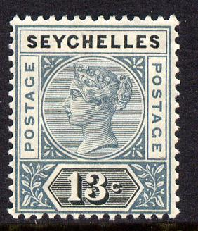 Seychelles 1890-92 QV Key Plate Crown CA die I - 13c grey & black mounted mint SG 5
