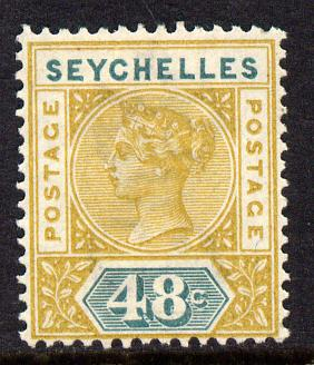 Seychelles 1890-92 QV Key Plate Crown CA die I - 48c ochre & green mounted mint SG 7