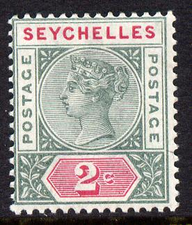 Seychelles 1890-92 QV Key Plate Crown CA die II - 2c green & carmine mounted mint SG 9