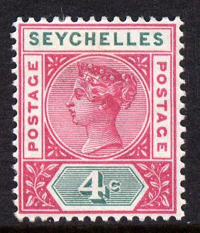 Seychelles 1890-92 QV Key Plate Crown CA die II - 4c carmine & green mounted mint SG 10