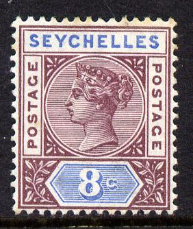 Seychelles 1890-92 QV Key Plate Crown CA die II - 8c brown-purple & blue mounted mint SG 11