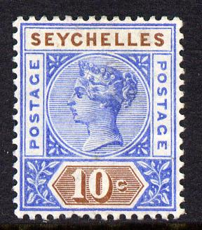 Seychelles 1890-92 QV Key Plate Crown CA die II- 10c ultramarine & brown mounted mint SG 12