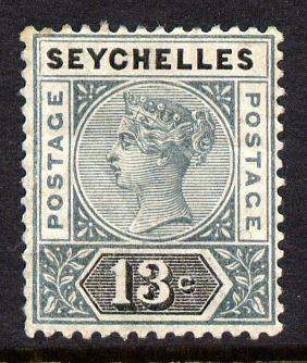 Seychelles 1890-92 QV Key Plate Crown CA die II - 13c grey & black mounted mint SG 13