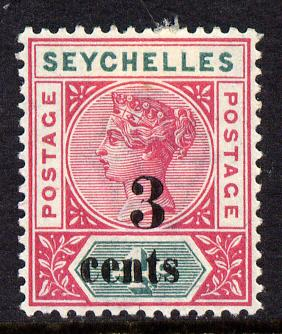 Seychelles 1893 QV surcharged 3c on 4c carmine & green mounted mint SG 15
