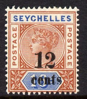Seychelles 1893 QV surcharged 12c on 16c chestnut & blue die II mounted mint SG 17