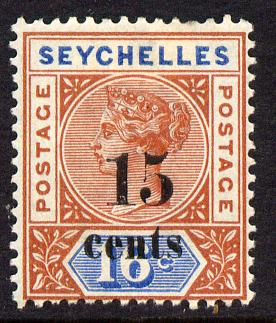 Seychelles 1893 QV surcharged 15c on 16c chestnut & blue die I mounted mint SG 18