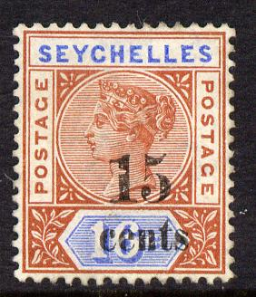 Seychelles 1893 QV surcharged 15c on 16c chestnut & blue die II unused without gum SG 19