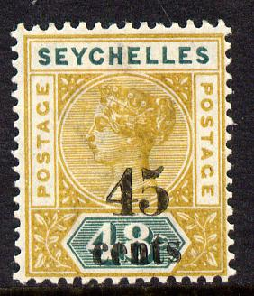 Seychelles 1893 QV surcharged 45c on 48c ochre & green mounted mint SG 20