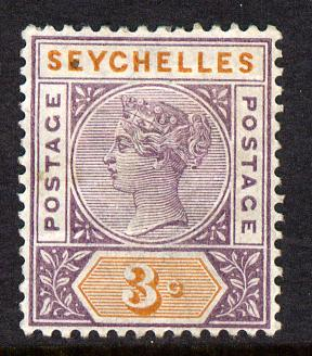 Seychelles 1893 QV Key Plate Crown CA die II - 3c dull purple & orange mounted mint SG 22