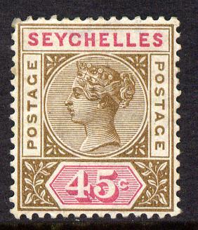 Seychelles 1893 QV Key Plate Crown CA die II - 45c brown & carmine mounted mint SG 25